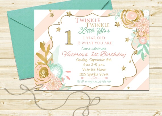 Sweet Pink, Mint and Gold Birthday Party Invitation - Twinkle Twinkle Little Star First Birthday Invite