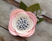 Pink White and Silver Felt Flower Nylon Baby Headband Valentines Headbands Newborn Photography Props Girls Flower Hair Clips Felt Rose Clip