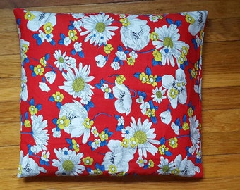 Vintage 1970's Handmade Bright Psychedelic Floral Decorative Pillow