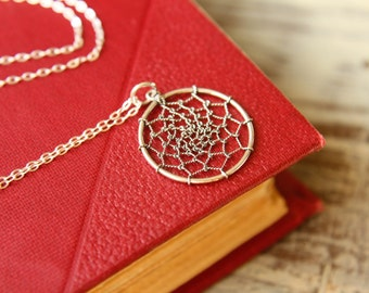 Dream Catcher Necklace in Sterling Silver