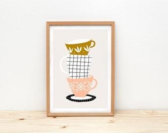 Tasses d'art, illustration par depeapa, thé et tasses à café, tasses vintages, tasses mural, format A4, tasses affiche, décoration murale, décor de la cuisine