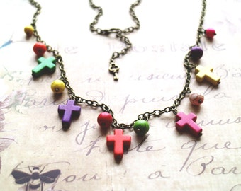 Boho cross necklace. Multicolor Necklace. Gypsy necklace. Turquoise necklace. Ready to ship. Boho style gift. Unique necklace
