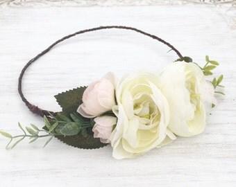 Ivory peony and light pink ranunculus flower crown - wedding - bride - flower girl - vintage - festival