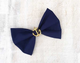 Navy Blue Nautical hair bow on clip with Gold Vintage Anchor Rockabilly Pin Up girl
