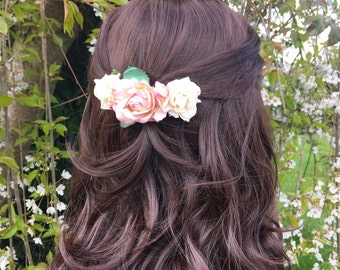 Pretty paper roses pastel pink and ivory hair comb - bridal accessories - flower girl - wedding