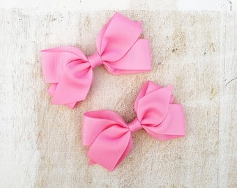 Pink Ribbon Hair bow duo - kawaii - girls bows