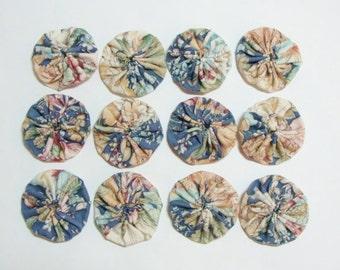 """Yo-Yo's, Set of (12) Handmade 100% Cotton Fabric- 1-3/4"""""""