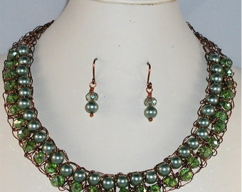Wire Crochet Copper, Green Pearls and Crystals Necklace