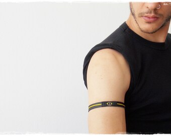 Peace Arm Cuff, Upper Arm Bracelet, Leather Armband, Peace Sign Armlet, Surfer Leather Arm Band, Elf Warrior Armband, Leather Elven Armband