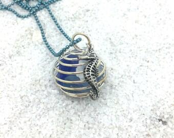 Seaside Seahorse  Pendant    Seaglass  Beach Pendant   Wire Wrapped Pendant   item 1637