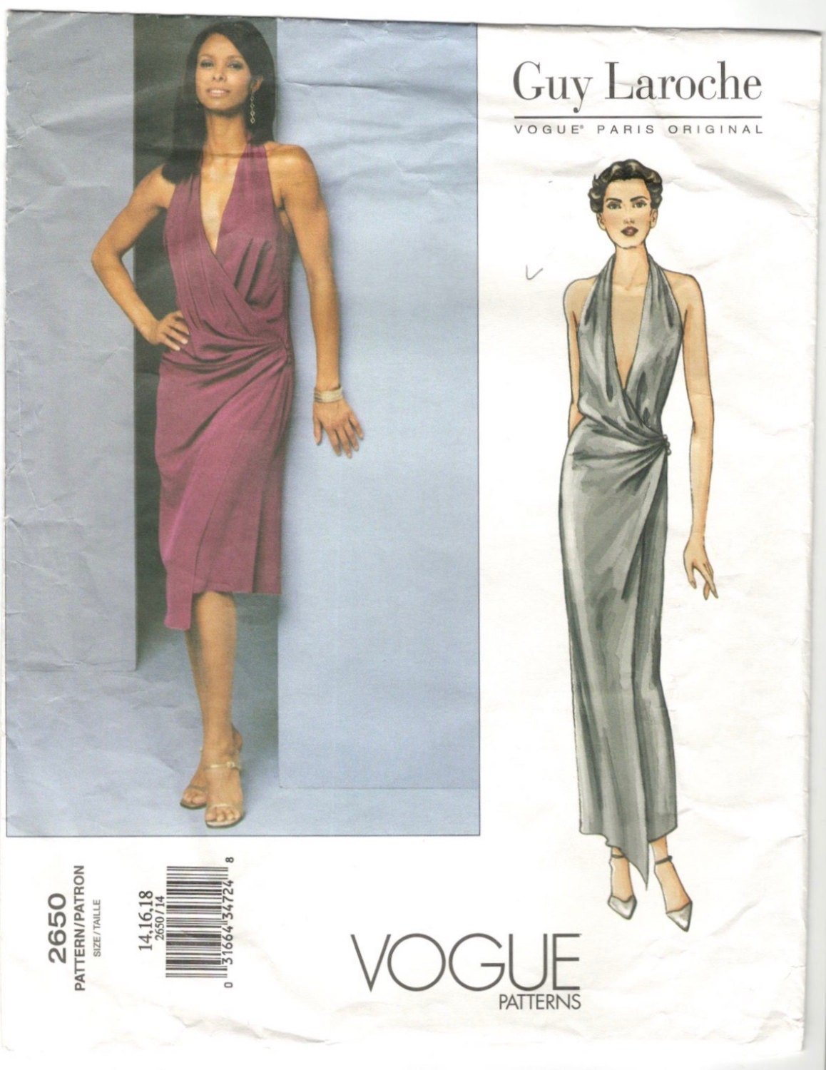 Fall 2001 Mei Xiao Zhou for Guy Laroche bias dress pattern Vogue 2650
