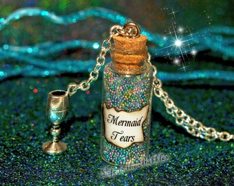 Mermaid Tears Bottle Necklace with a Silver Chalice Charm, Disney Pirates of the Caribbean Stranger Tides, by Life is the Bubbles