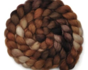 Handpainted spinning fiber - Masham wool combed top roving - 3.9 ounces - Bear's Den