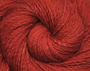 Handspun yarn - Hand dyed Alpaca / Merino wool, Fine Sport weight - 335 yards - Persimmons