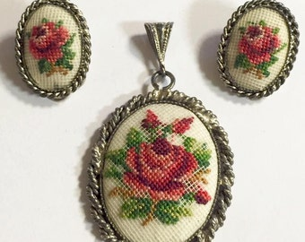 Vintage Embroidered Petite Needlepoint Floral Pattern Pendant and Earrings Set