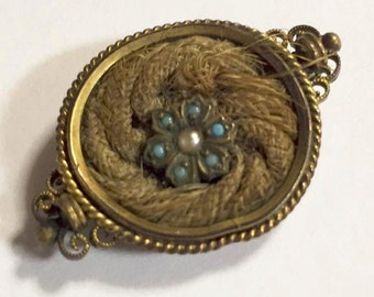 Antique Victorian Gold Filled Human Hair Mourning Pin