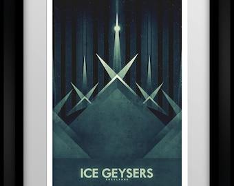 Space Travel Poster - Enceladus - Ice Geysers