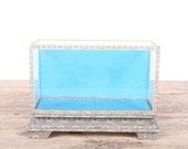 Vintage Small Display Case / Unique Oriental Blue Display Case Storage / Antique Display Case / Office Kitchen Living Room Collectible