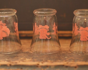 Vintage Pink Elephant Hazel Atlas Juice glasses, Set of 3 , Dancing elephants