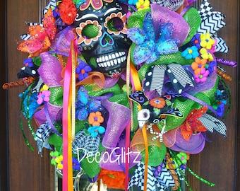 DAY of the DEAD WREATH with Black Sugar Skull Mask Día de los Muertos