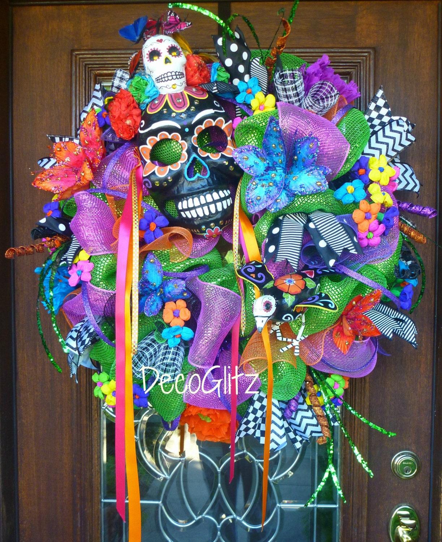 DAY of the DEAD WREATH with Black Sugar Skull Mask Día de los