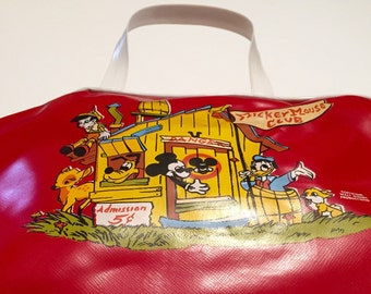 Mickey Mouse Purse Vintage Clubhouse theme Top Handle bag Rare Collectible Walt Disney Productions Bambi, Thumper, Donald, Pluto, Pinocchio