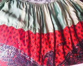 "Sequin Skirt ""China Poblano"" style Hand Made Mexico So Frida Kahlo 1930s senorita Large As Is"