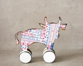 Nursery decor, Baby shower rustic home decor cow figure, rolling toy