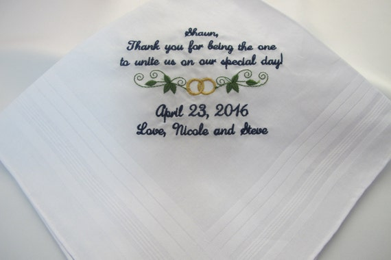 Embroidered Wedding Handkerchief for the Grandfather of the Bride
