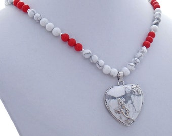 Howlite Rose Heart Coral Natural Stone Pendant Necklace