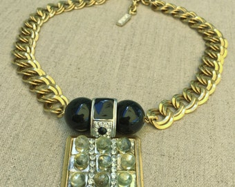 Art Deco Inspired Statement Necklace Vintage Assemblage Necklace by Modifeye