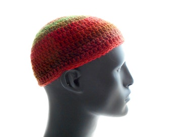 Crochet Kufi Hat, Wool - Blend Beanie, Multicolor Stripes, Men's Hat, Women's Hat, Tomato Red and Green Stripes, Medium Size