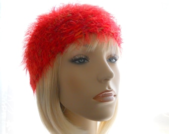 Extremely Red Hat, Extremely Furry Hat, Wool - Blend Beanie, Crochet Beanie Hat, Women's Beanie Hat, Medium Size