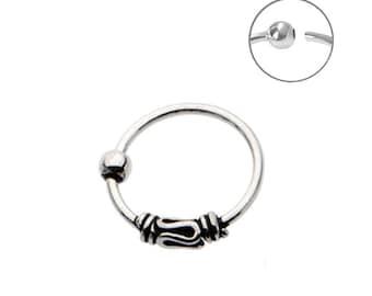 "925 Sterling Silver Nose Ring Tribal Design Hoop 5/16"" 8mm 20G"