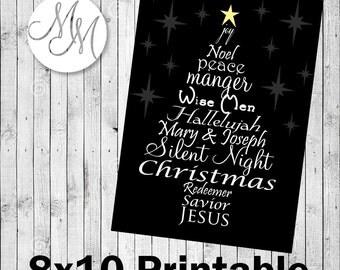 Christmas Digital Word Art - Black -MULTIPLE PRINTS