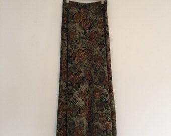 Vintage 90's Olive Floral Maxi Stretch Skirt M