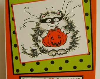 SALE - Trick or Treat Kitty Halloween note card