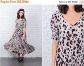 LABOR DAY SALE Vintage 90s Leopard Print Dress Grunge Maxi Animal Short sleeve full gauze Large 7123