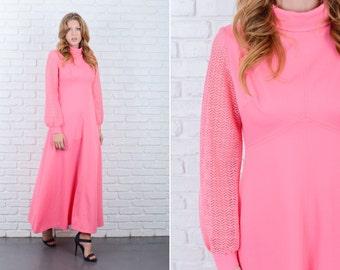 Vintage 70s Pink Mod Maxi Dress Sheer Cutout Sleeves Medium M 6032 vintage dress pink dress mod dress medium dress cutout dress