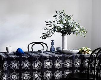 Indigo Algarve linen tablecloth