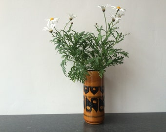 1960s West Germany Mustard and Navy Fat Lava Cylinderical Vase
