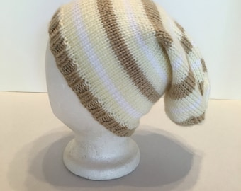 Striped Slouchy Hat Beige Yellow White