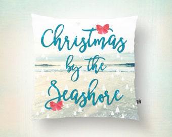 Throw Pillow | Christmas by the Seashore |  Beach House Coastal Decor | Modern | Size and Price via Dropdown