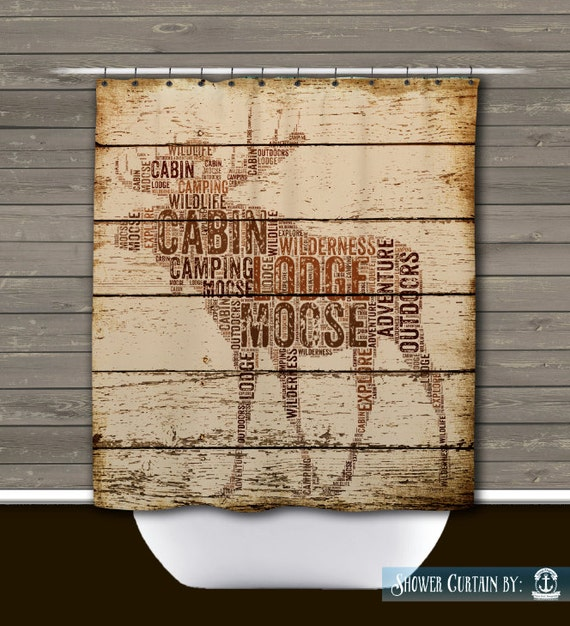 Shower Curtain And More Moose Rustic Lodge Wilderness Cabin