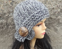 Hand knit hat women hat Fall Winter Accessories Autumn Fashion Knit Hat Women Hat Cloche Hat in graphite gray Womens Accessories Winter Hat