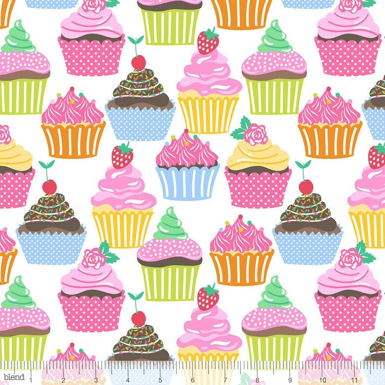 Icing On Fabric: Icing On Top Cupcakes On White From Blend Fabric's Lolly