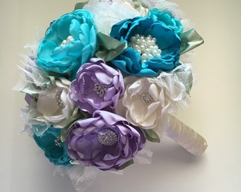 Fabric Flower Bouquet - Extra Large Half Size - Teals, Purple and Cream - Heirloom Bouquet, Fabric Wedding Flowers, Fabric Bouquet