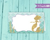 Mermaid Food Labels / INSTANT DOWNLOAD / Favor Tags / Under the Sea Birthday Party / Gold Glitter / Purple, Teal / Printable Digital File