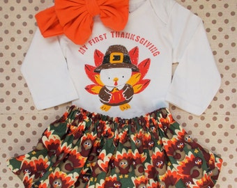First Thanksgiving outfit baby girl onesie Everyone is Thankful for me Turkey Day dress tutu skirt 0 3 6 9 12 18 toddler messy bow headband