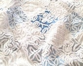 """SAMPLE ~ Vintage Chenille Baby Quilt ~ 42"""" x 42"""" Blues, Gray, White with Minky Backing ~ Made to Order"""